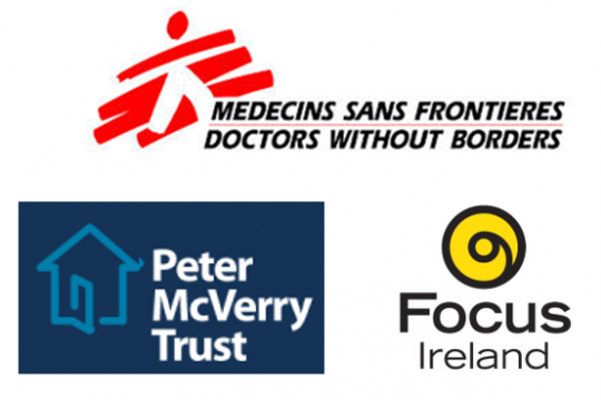 Logos of 3 charity organisations: MSF, Focus Ireland and Peter McVerry Trust