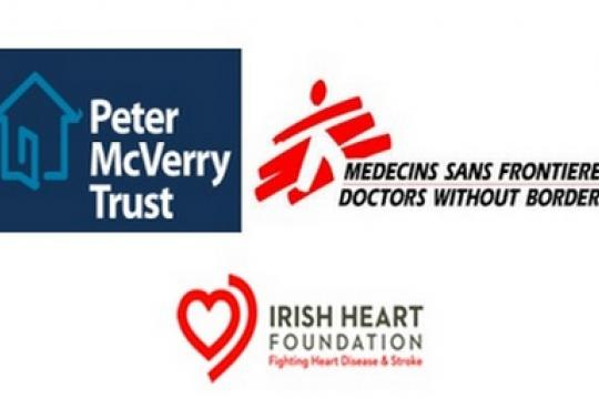 Logos of three charities: Peter McVerry Trust, Medecins Sans Frontieres and Irish Heart Foundation