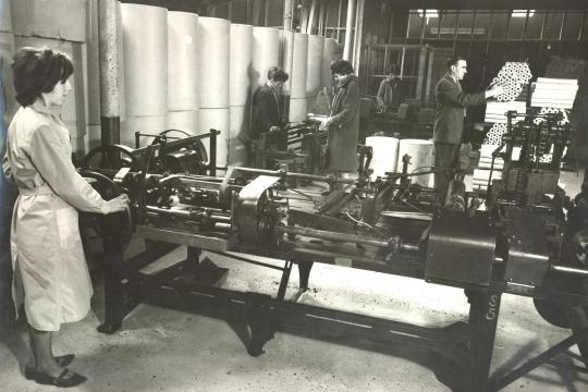 Workers and machines at the first Industrial Packaging plant on Harmony Row, Dublin