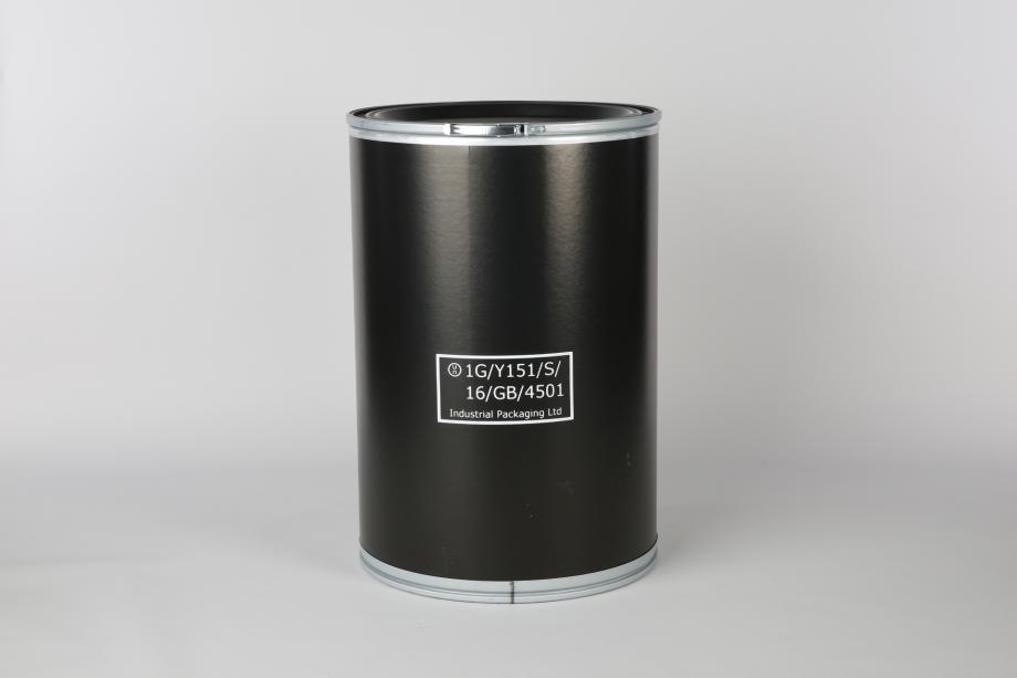 Black fibre drum with base and lid