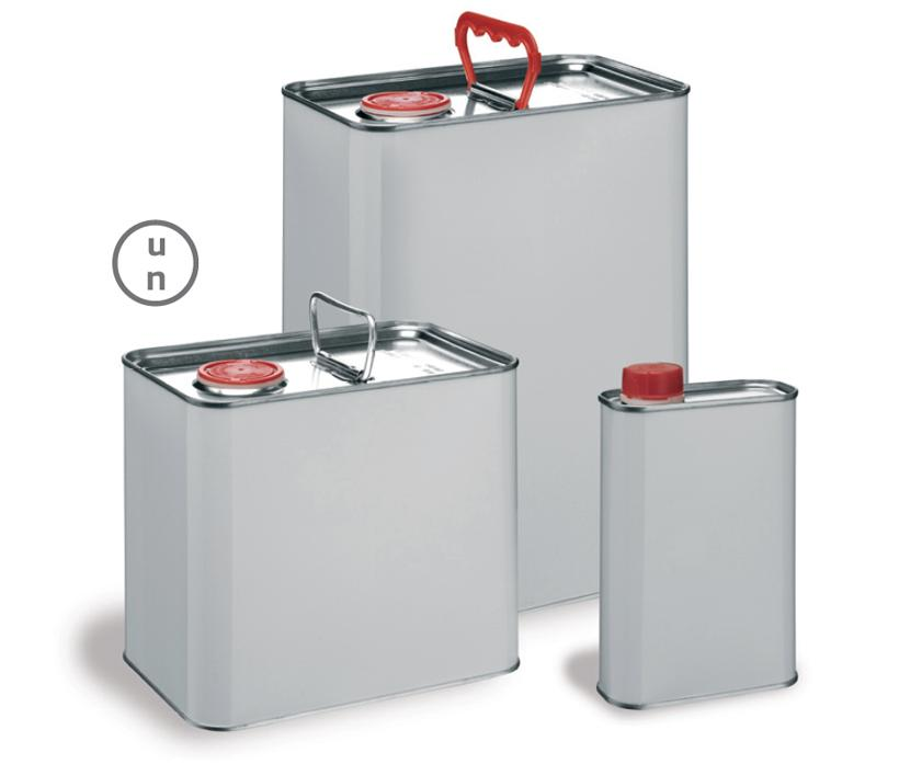 Three steel rectangular tins of different sizes, two with handles