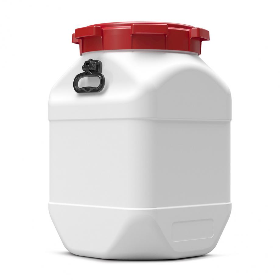 White 66L square plastic drum with black handle and red lid