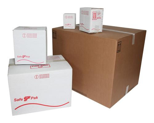 Five cardboard boxes of different sizes UN certified to hold dangerous goods