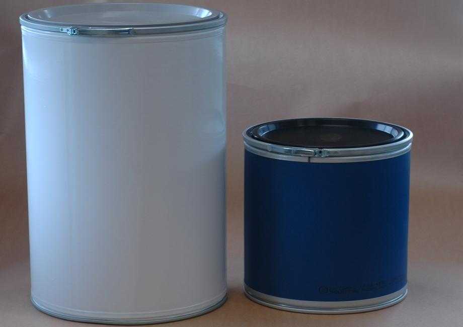 Large white and small blue tare-free fibre drums for use in cleanrooms