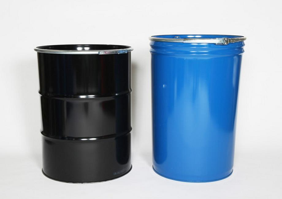 Black cylindrical open-top steel drum and blue conical open-top steel drum