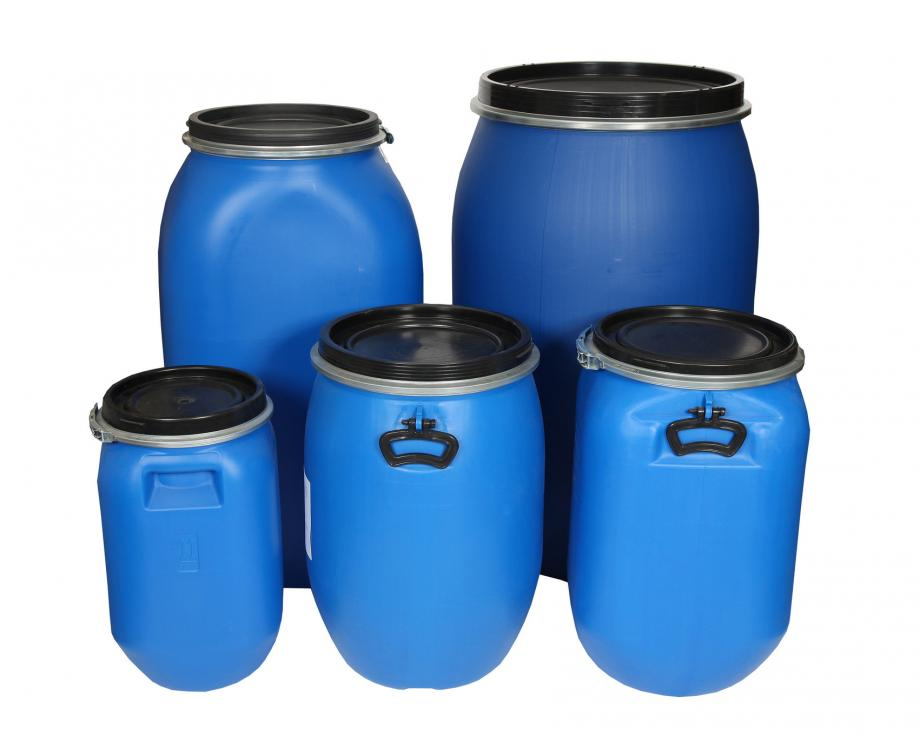 Five blue open top plastic drums of different sizes