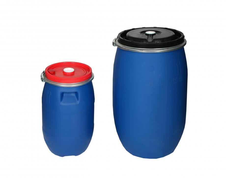 Small and large blue open top plastic drums
