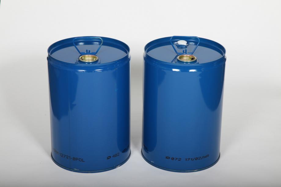 Two blue tighthead steel drums