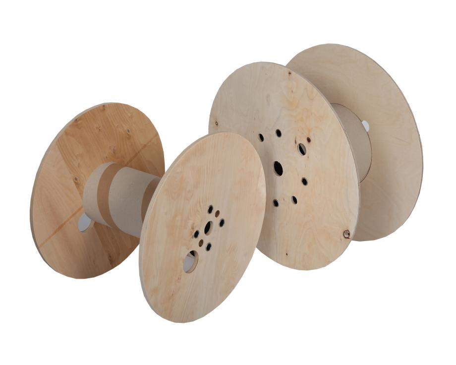 Two wooden cable reels