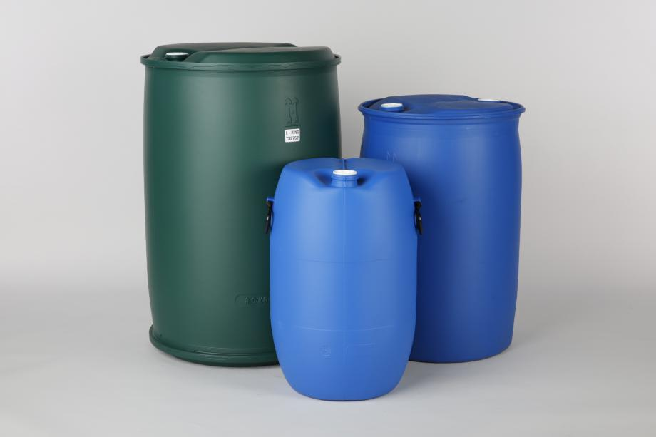 Three plastic drums of different shapes and sizes
