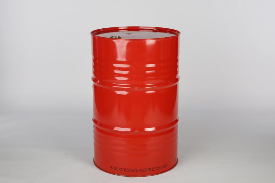 Red cylindrical steel drum
