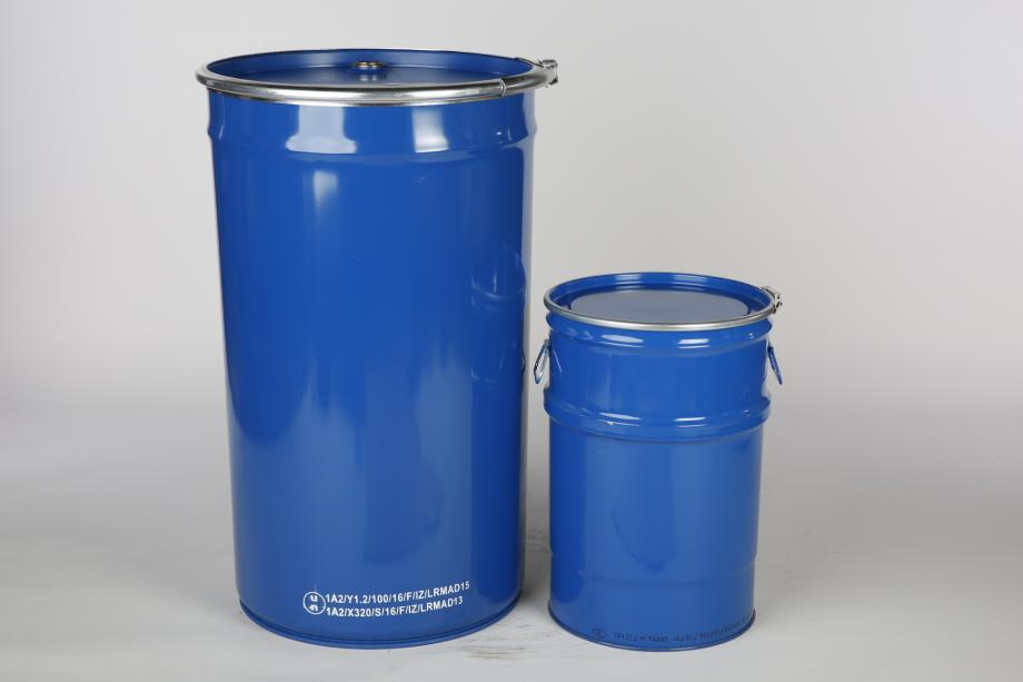 Small and large blue conical steel drums