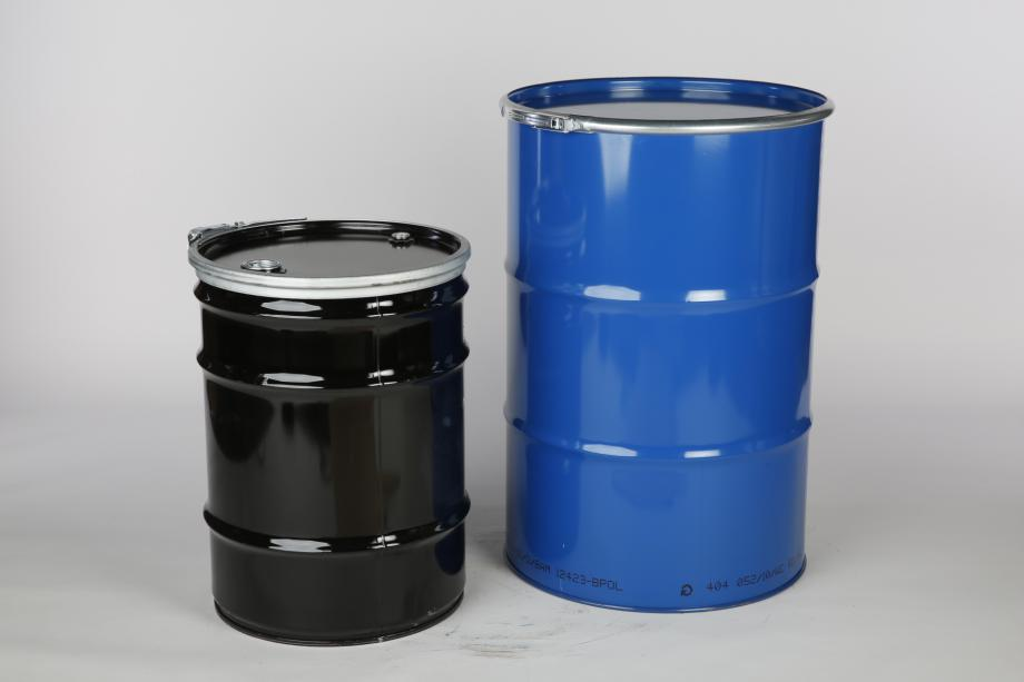 Black and blue cylindrical steel drums