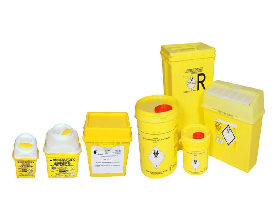 7 yellow plastic medical waste bins in different sizes and shapes