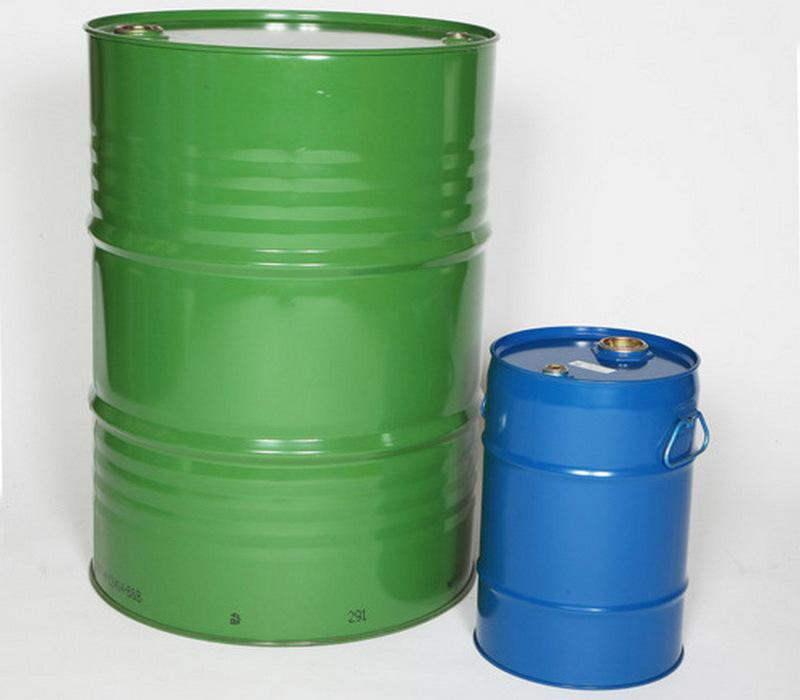 Large green and small blue tight-head steel drums