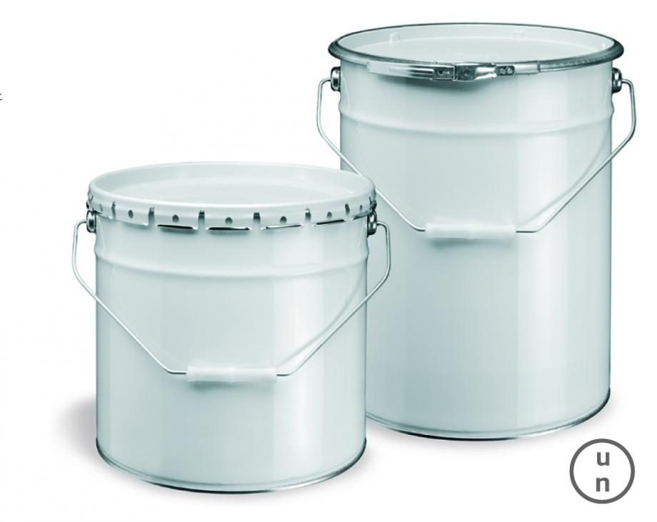 Two metal pails of different sizes and different closure types