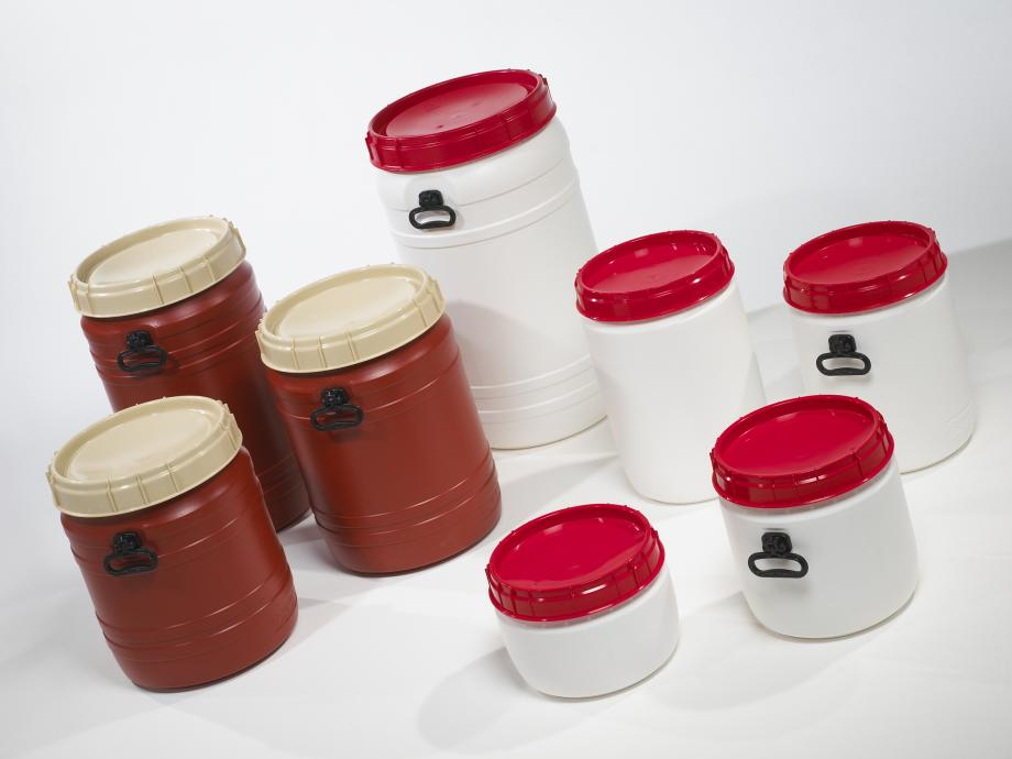 Eight total opening plastic drums in different colours and sizes