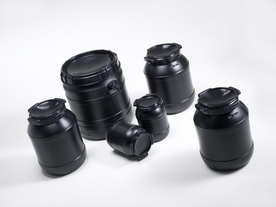 Six black plastic UV Safe drums in different sizes