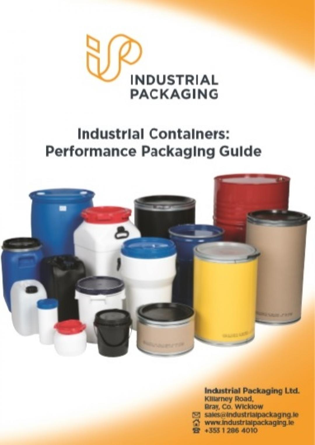 Cover of brochure listing industrial containers