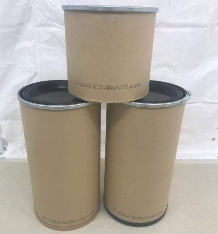 Three Enviroloc fibre drums of different sizes