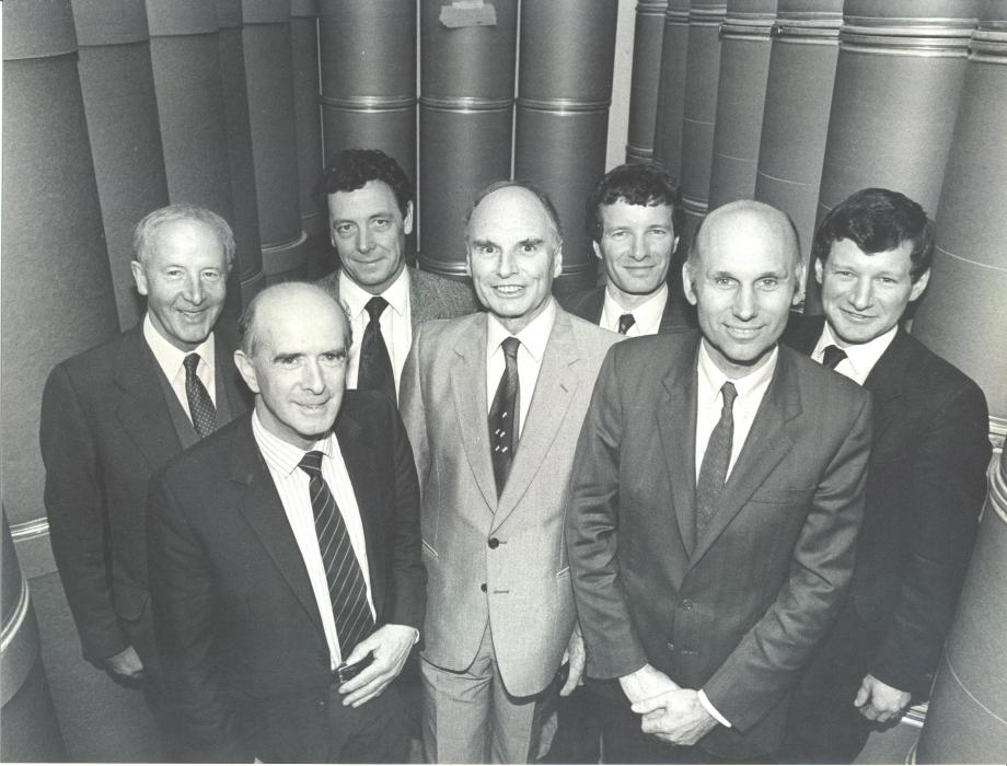 BW photo of Industrial Packaging founders and directors in 1990s
