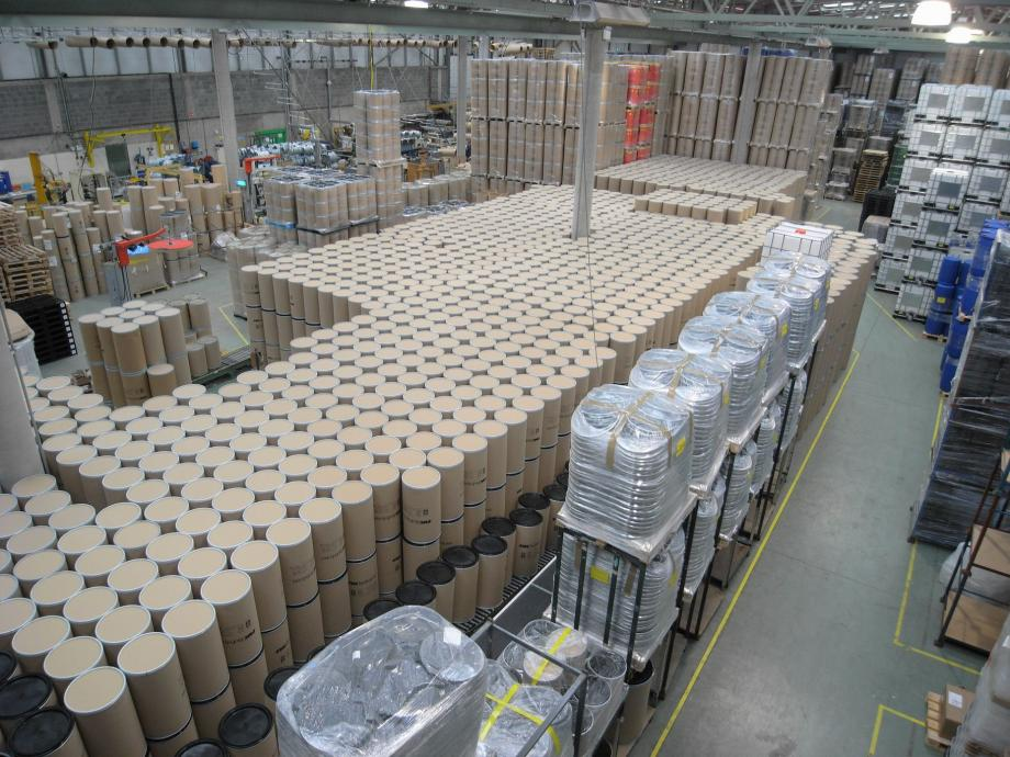Birdseye view of Industrial Packaging warehouse showing fibre drums and IBC tanks