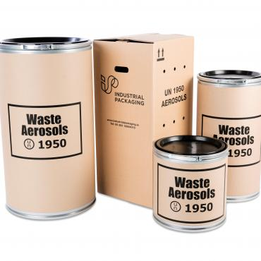 3 fibre drums of different sizes and a cardboard box suitable for waste aerosols