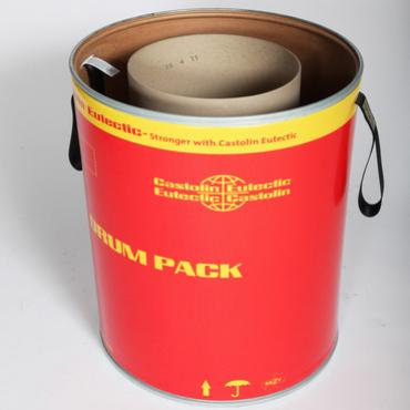 Red and yellow branded fibre drum with a cardboard tube inside, to enable cable or wire to be neatly packed.