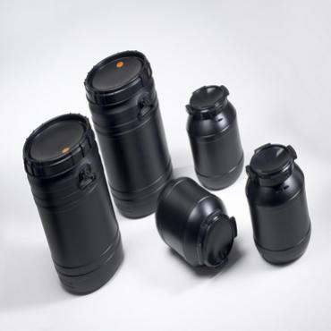 Black plastic CurTec drums with screw lids, in five different sizes.