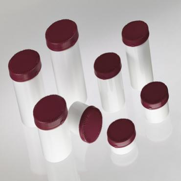 Small volume plastic containers for pharmaceutical and chemical products, white with burgundy lids.