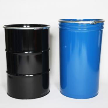 Black cylindrical steel drum and blue conical steel drum