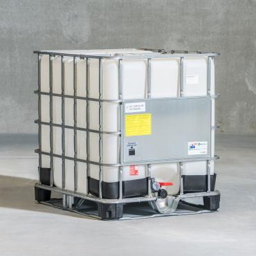 1000 litre IBC tank for use in explosive areas with natural plastic bottle, plastic and steel pallet
