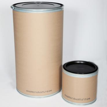 Large and small sizes LeverLoc fibre barrels with lids on
