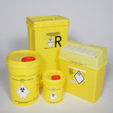 4 different sizes yellow plastic containers for medical waste