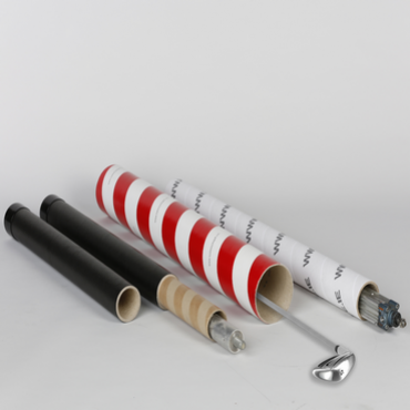 4 cardboard tubes of different designs open at the ends with golf clubs sticking out.