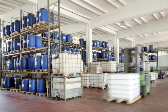 Plastic bulk containers in a warehouse